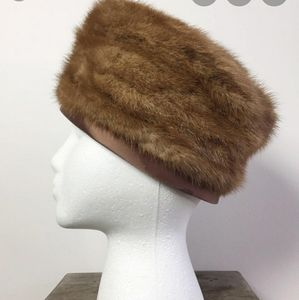 Vtg 60s Brown Mink Fur Pillbox Hat